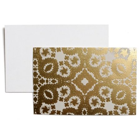 Christian LaCroix Oro Y Plata Correspondence Cards, 3.5 x 5 Inches, Set of 12 Cards and Envelopes, Silver and Gold (Correspondence Envelopes)