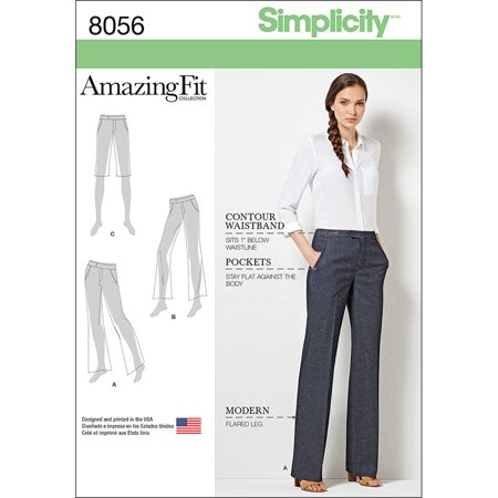 Simplicity Misses' Plus Size 20W-28W Amazing Fit Flared Pants or Shorts Pattern, 1