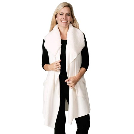 Le Moda Women's Sherpa Trimmed Fleece Vest Winter Collection | One Size Fits All