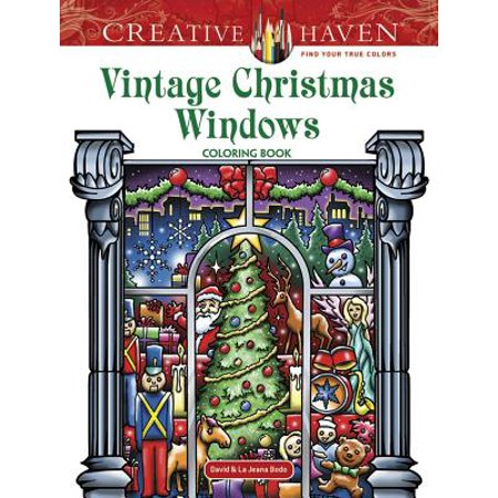 Christmas Pattern Book - Creative Haven Vintage Christmas Windows Coloring Book