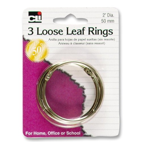 "Cli Looseleaf Ring - 2"" Diameter - Round - 3 / Pack - Silver (LEO65020)"