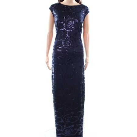 Lauren by Ralph Lauren NEW Blue Navy Sequin Women's Size 4 Maxi