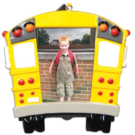 School Bus Frame Personalized Christmas Ornament DO-IT-YOURSELF - School Bus Ornaments