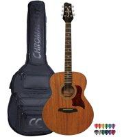 Sawtooth Mahogany Series Solid Mahogany Top Acoustic-Electric Jumbo Guitar with Padded Gig Bag & Pick Sampler
