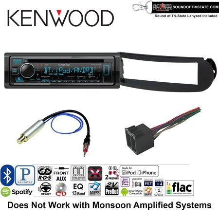 Kenwood KDCX303 Double Din Radio Install Kit with Bluetooth, CD Player, USB/AUX Fits 1998-2010 Volkswagen Beetle - (With Aktiv Factory Amplified System) and a SOTS lanyard included