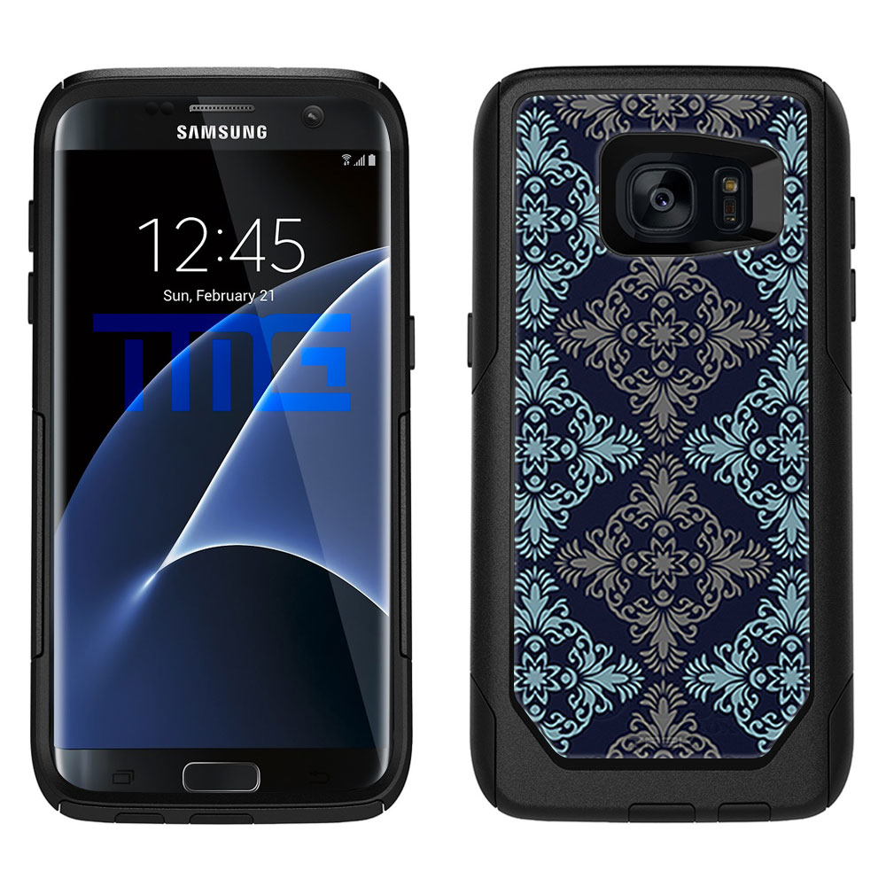 SKIN DECAL FOR OtterBox Commuter Samsung Galaxy S7 Edge Case - Victorian Vintage Blue and Grey on Navy DECAL, NOT A CASE