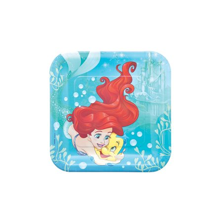 Fun Express - Little Mermaid Dinner Plate (8pc) for Birthday - Party Supplies - Licensed Tableware - Licensed Plates & Bowls - Birthday - 8 Pieces - Little Mermaid Birthday Plates
