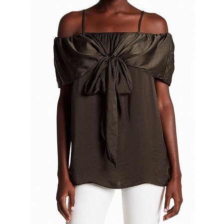 8b46faa111a42 Pleione - Pleione NEW Green Womens Size Medium M Satin Cold-Shoulder Blouse  - Walmart.com