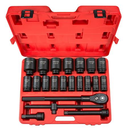 TEKTON 3/4 Inch Drive Deep 6-Point Impact Socket Set, 22-Piece (7/8-2 in.) | 48995 Drive Drag Link Socket