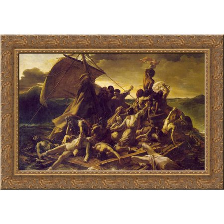 The Raft of the Medusa 24x19 Gold Ornate Wood Framed Canvas Art by Gericault, Theodore