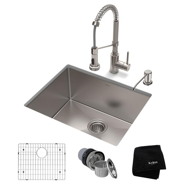 Kraus USA KHU101-23-1610-53SS 23 x 18 x 10 in. Standard PRO Farmhouse Kitchen Sink & Bolden, Stainless Steel - image 1 of 1