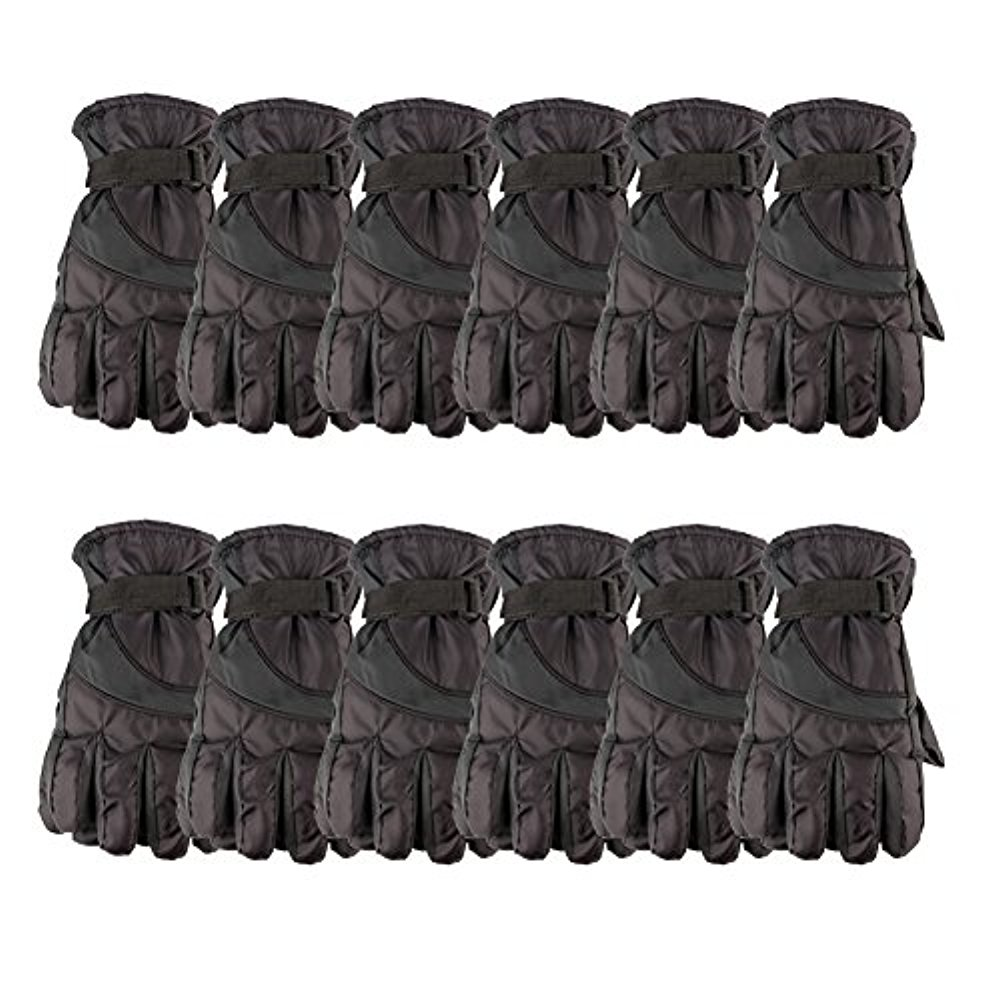 12 Pack of excell Mens Winter Warm Waterproof Ski Gloves, One Size Fits All (Black)