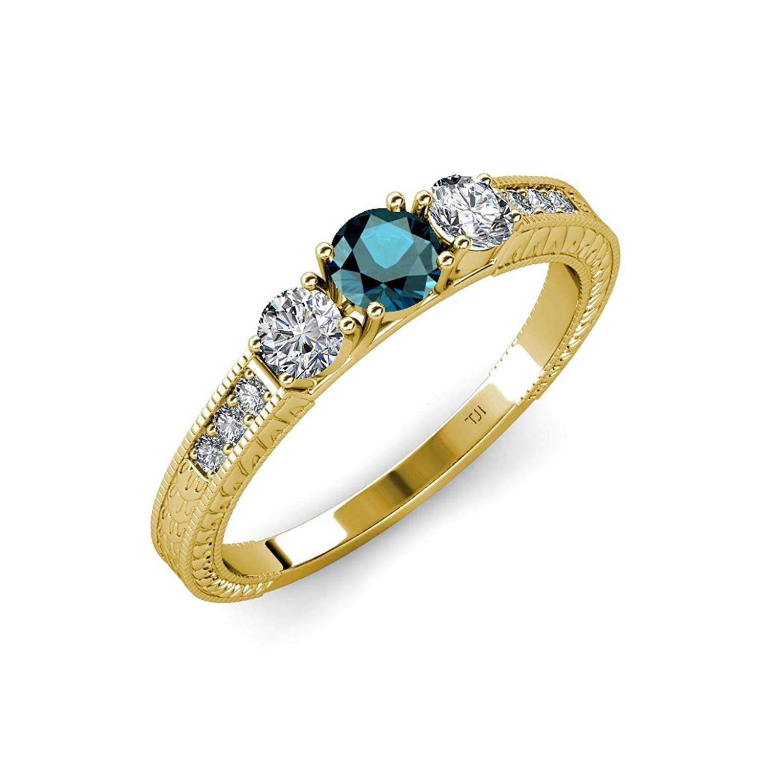 Blue & White Diamond Milgrain 3 Stone Ring with Side White Diamond 0.85 ct tw in 14K Yellow Gold.size 6.5 by TriJewels