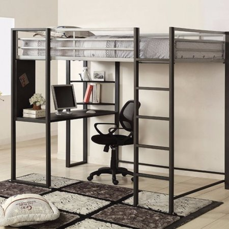 Full Size Metal Bunk Bed With Workstation Black And