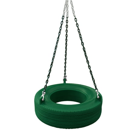 Gorilla Playsets 360° Turbo Tire Swing - Green with Green Chains