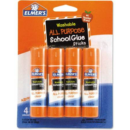 (4 Pack) Elmer's All-Purpose Washable School Glue Sticks, 0.24 oz, 4