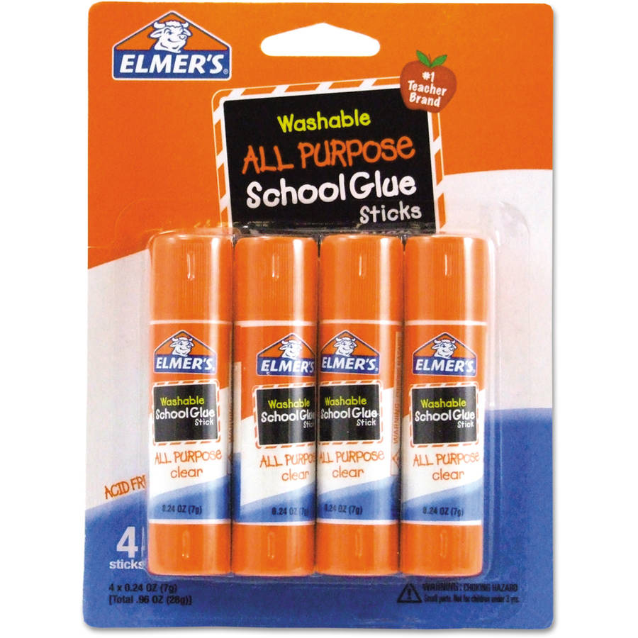 (4 Pack) Elmer's Washable School Glue Sticks, .24 oz, 4pk