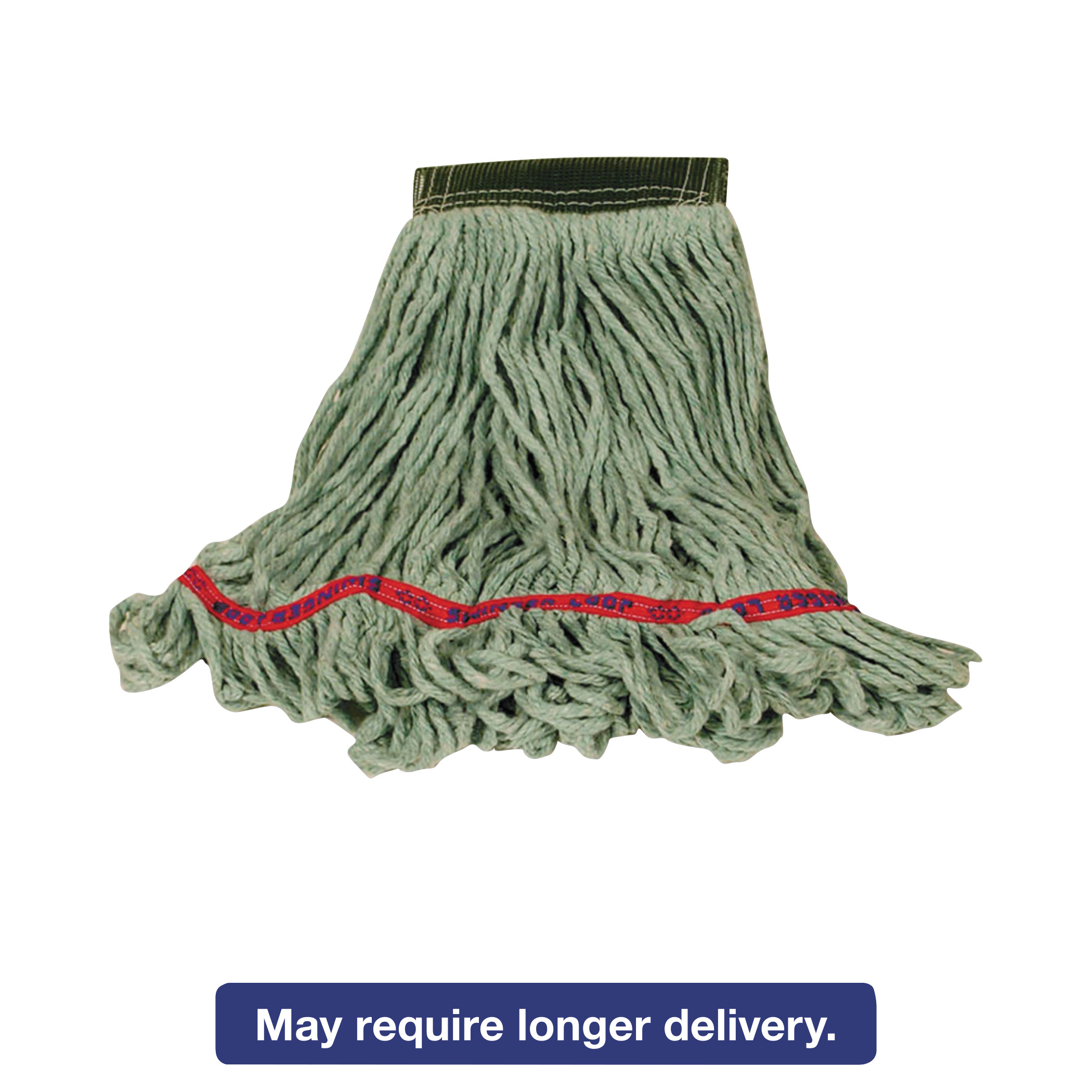 Rubbermaid Commercial Swinger Loop Wet Mop Heads, Cotton/Synthetic Blend, Green, Large, 6/Carton