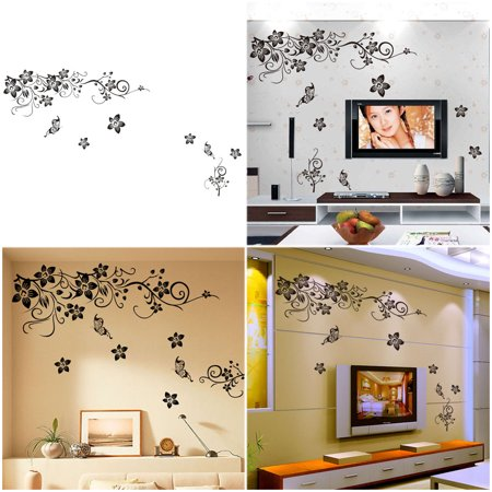 Creative Removable Wall Sticker PVC Flowering Branch & Butterfly Wall Art Decals for Home Living Room ()