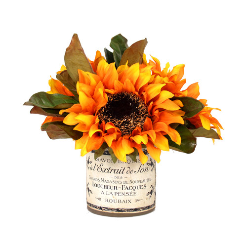 Creative Displays, Inc. Sunflower Bouquet French Label in Decoupage Pot