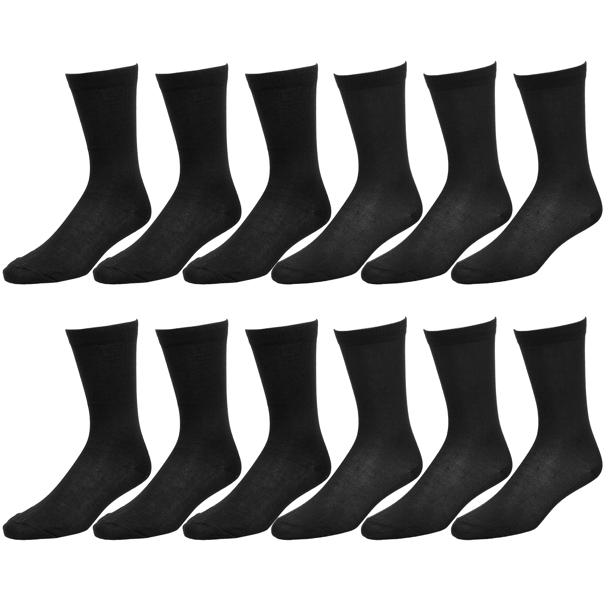 12-Pack Solid Black Color Men Dress Socks Size 10-13