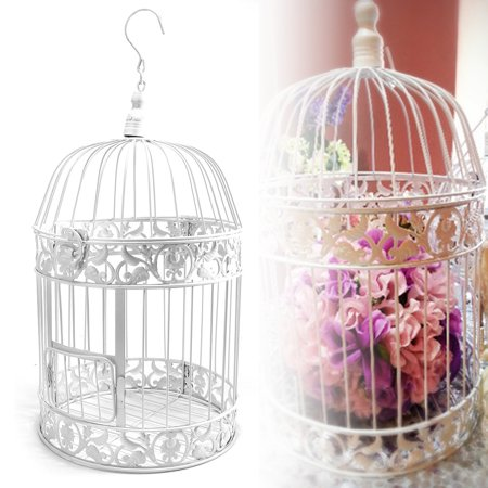 Meigar Vintage Iron White Birdcage Card Holder Bridal Shower Wedding Hanging Decor