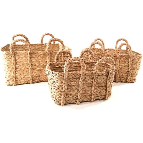 Baum Rectangular Braided Rush Baskets, Set of 3, Natural
