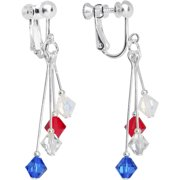 Red White Blue Sports Team Clip On Earrings