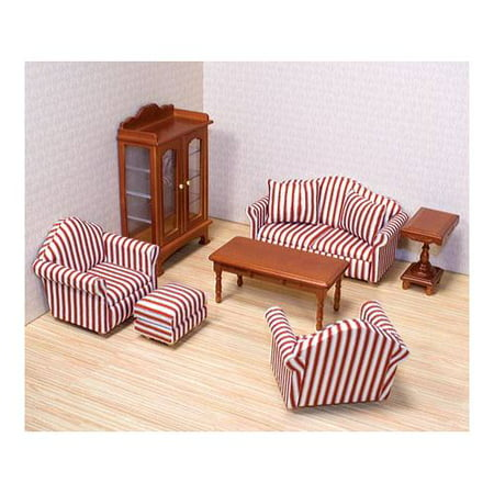 - Melissa & Doug Classic Victorian Wooden and Upholstered Dollhouse Living Room Furniture (9 pcs)