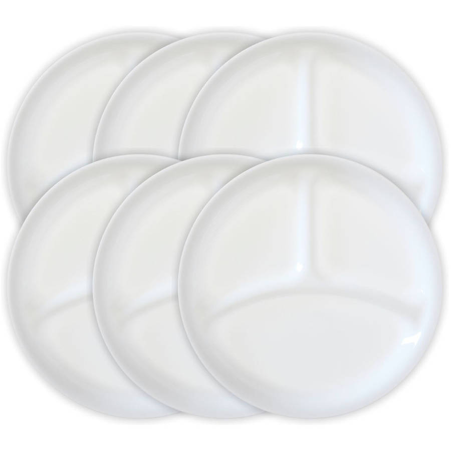 Winter Frost White 10 25 Divided Dish Set Of 6 Tempered Glass Round