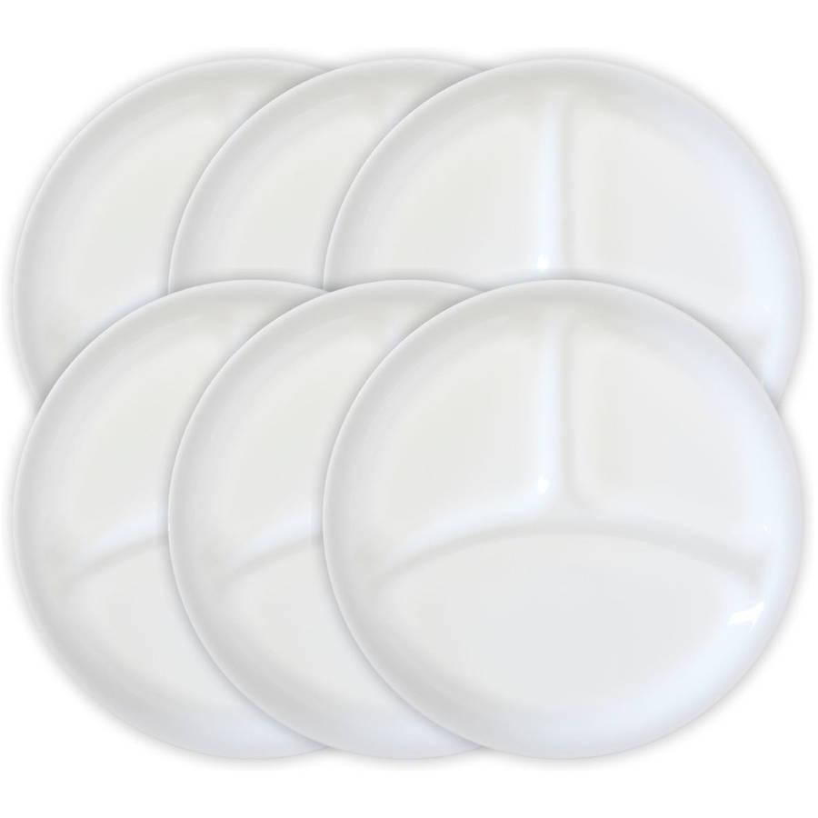 "Corelle Livingware Winter Frost White 10.25"" Divided Dish, Set of 6"