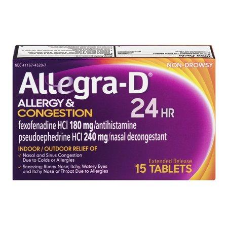 Image of Allegra-D Allergy & Congestion 24HR Indoor/Outdoor Tablets - 15 CT