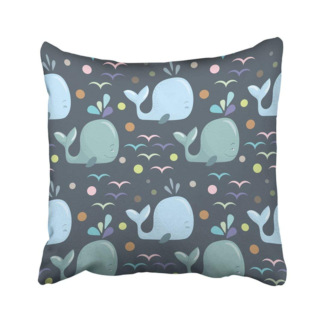 ARTJIA Sea Cute Baby Pattern With Blue Whales On Dark Grey Animal Cartoon Child Color Drawing Pillowcase Pillow Cover 18x18 inches