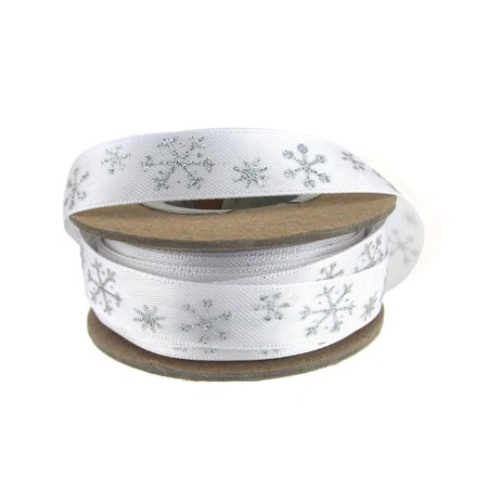 Bow Satin Crystals - Glitter Snow Crystals Holiday Christmas Satin Ribbon, 5/8-Inch, 9 Yards, Silver