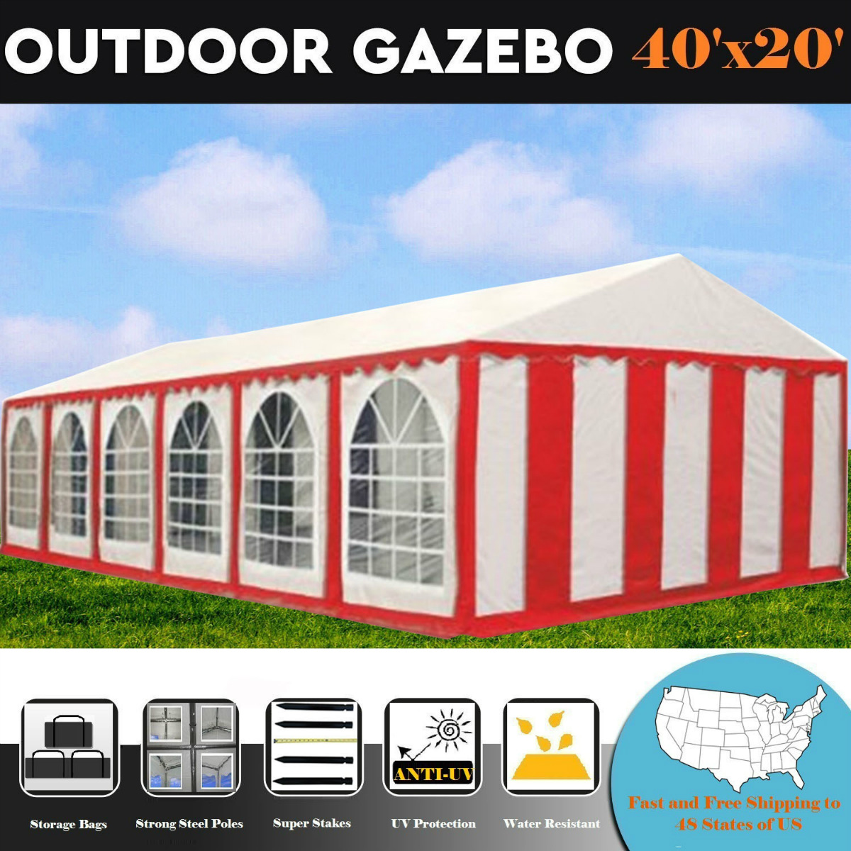 40'x20' PE Red/White Tent - Heavy Duty Wedding Canopy Carport Shelter - By DELTA Canopies