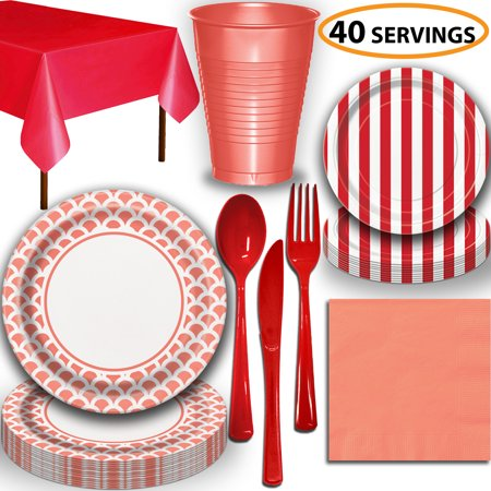 Disposable Tableware, 40 Sets - Coral and Ruby Red - Scallop Dinner Plates, Striped Dessert Plates, Cups, Lunch Napkins, Cutlery, and Tablecloths:  Party Supplies Set