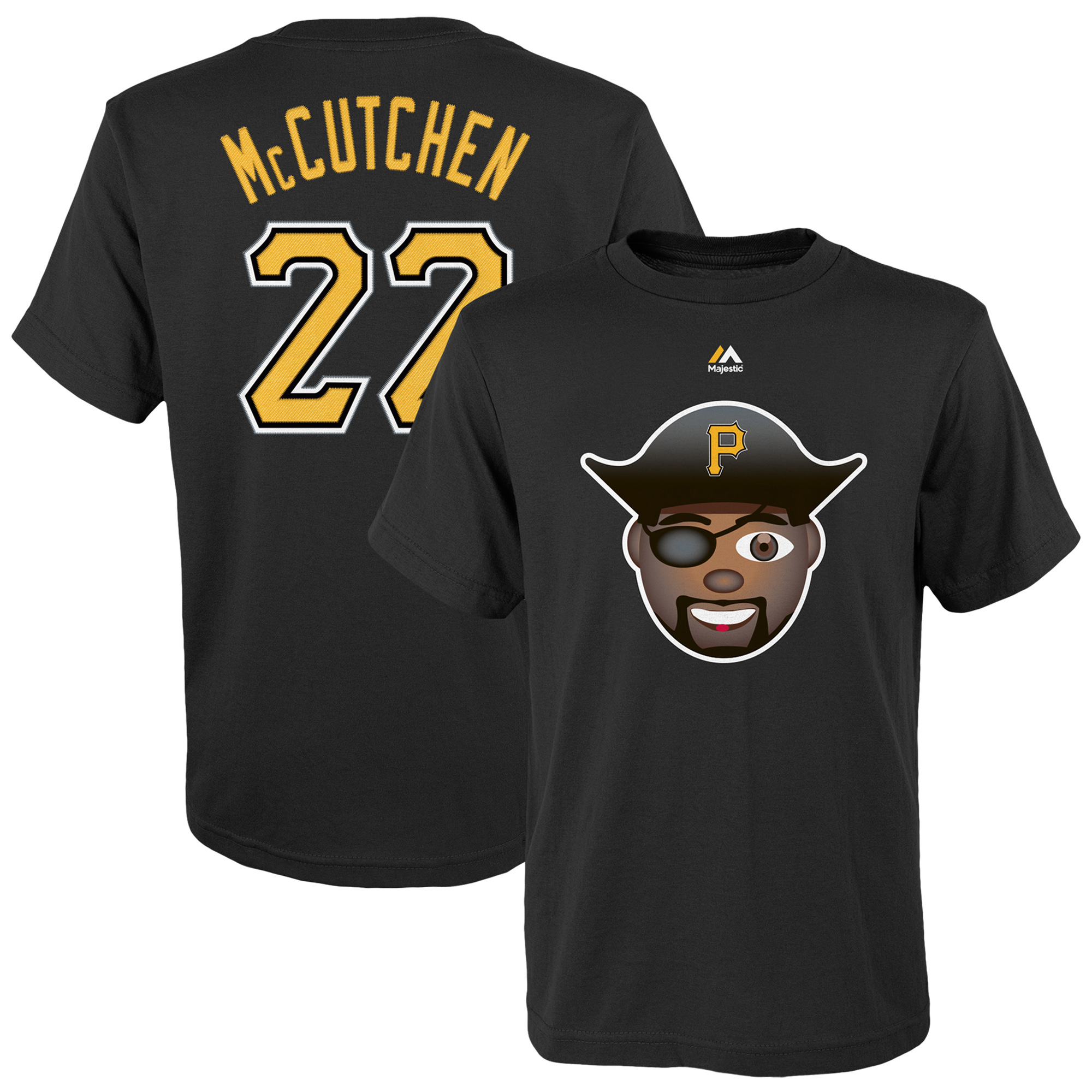 Andrew McCutchen Pittsburgh Pirates Majestic Name & Number Emoji T-Shirt - Black