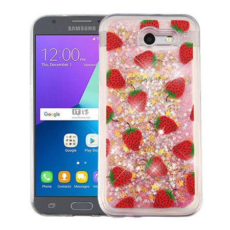 new product b49f7 5a8a3 For Samsung Galaxy Express Prime 2/J3 Liquid Glitter Quicksand Hybrid Cover  Case