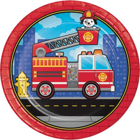 Club Pack of 96 Blue and Red Flaming Fire Truck - Dinner Plate 8.8