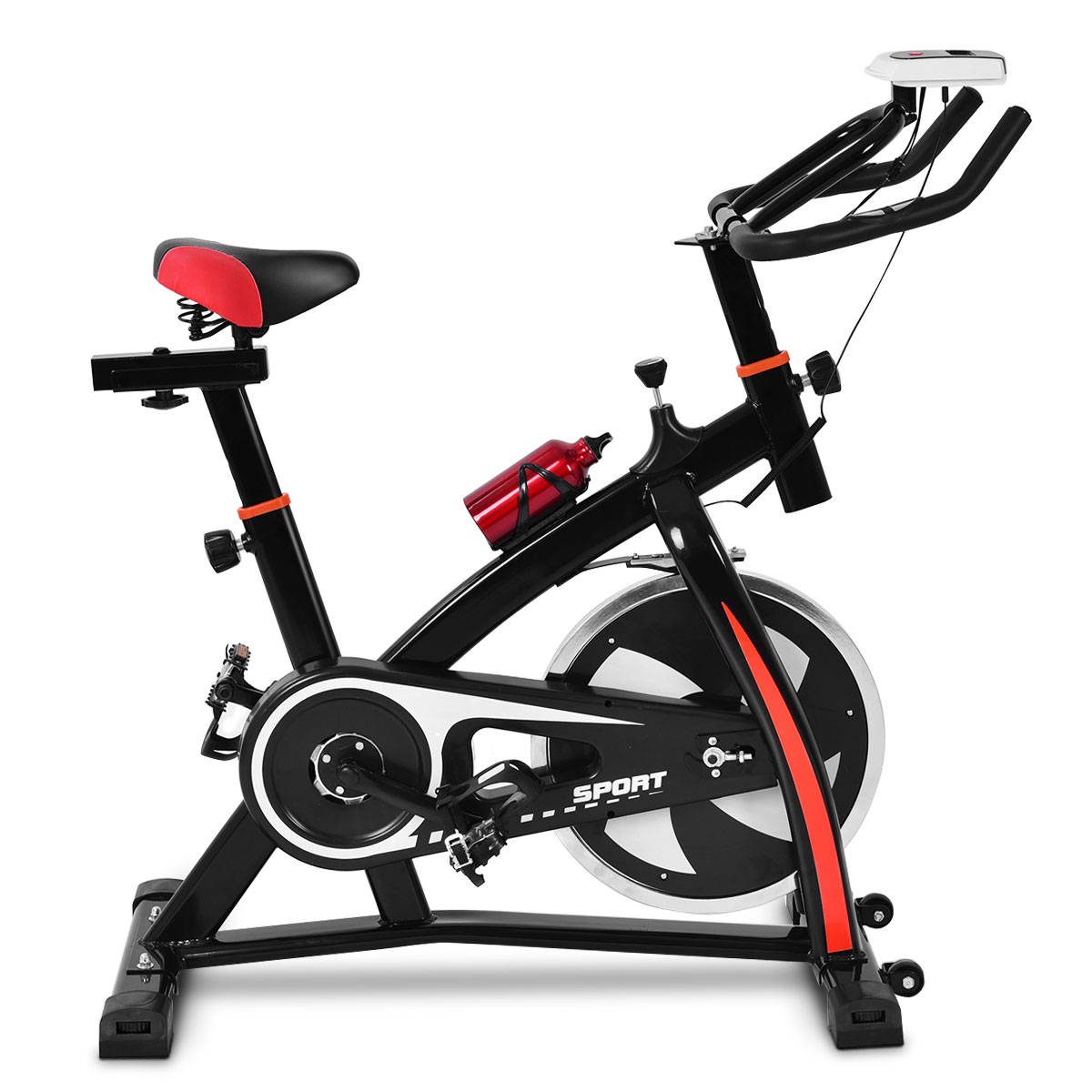 Indoor Cycling Exercise Stationary with Soft Seat Cushion & Wheels