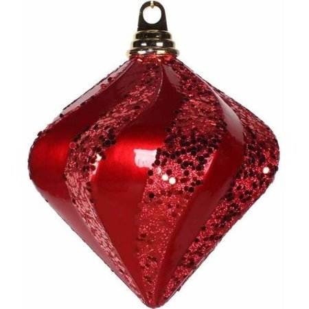 "Vickerman 6"" Candy/Glitter Swirl Diamond Christmas Ornament"