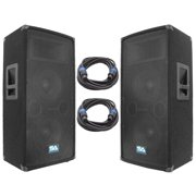 """Seismic Audio Pair of Dual 10"""" PA Speakers and 25' Speaker Cables - PA/DJ Band PA Package - SA-100T-PKG21"""