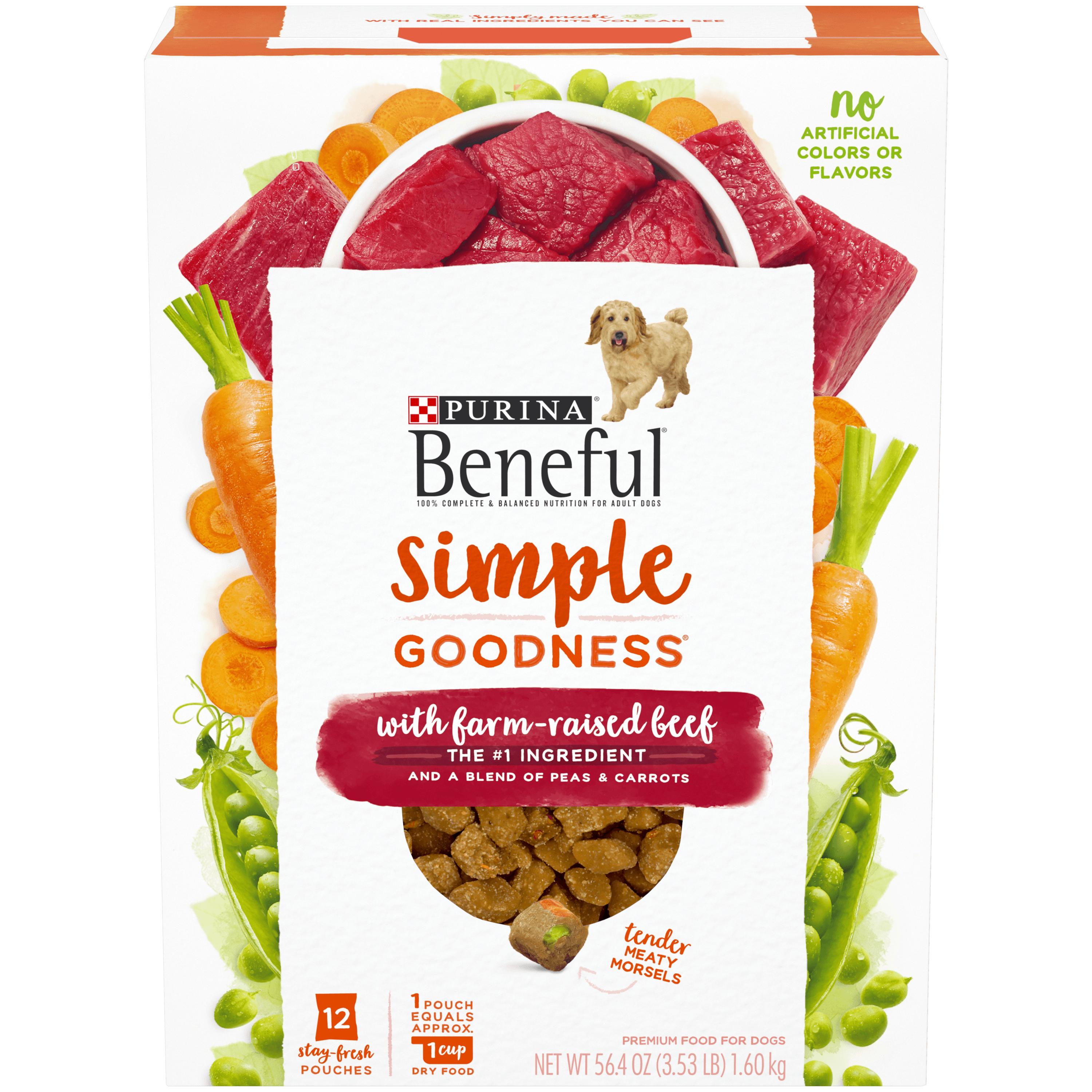 Purina Beneful Dry Dog Food; Simple Goodness With Farm Raised Beef - 12 ct. Box