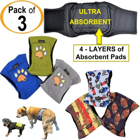 Pack of 3 Male Dog Diapers Belly Band Wrap Waterproof Leak Proof Washable sz X-Small waist 7