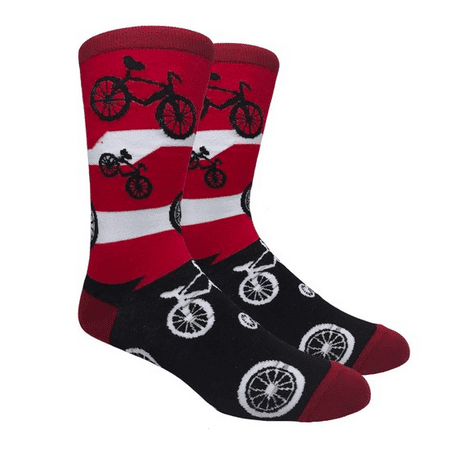 - Men's Fun Novelty Print Casual Trouser Crew Socks - Bicycle Red Stripes