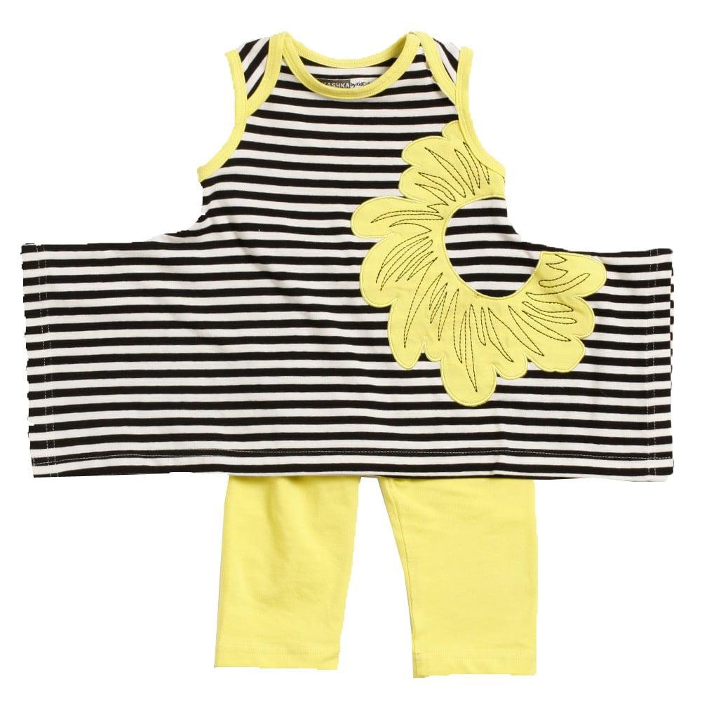 KidCuteTure Baby Girls Sprite Yellow Stripe Karrie Tunic Leggings Outfit 3 - 24M