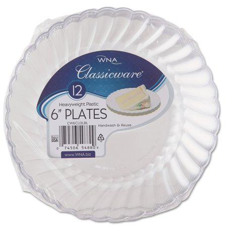 WNA Classicware Clear Plastic Snack/Dessert Plates, 6