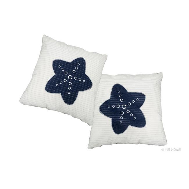 Old Modern Handicrafts AB903 White Pillow, Blue Star, Pack of 2 by Old Modern Handicrafts