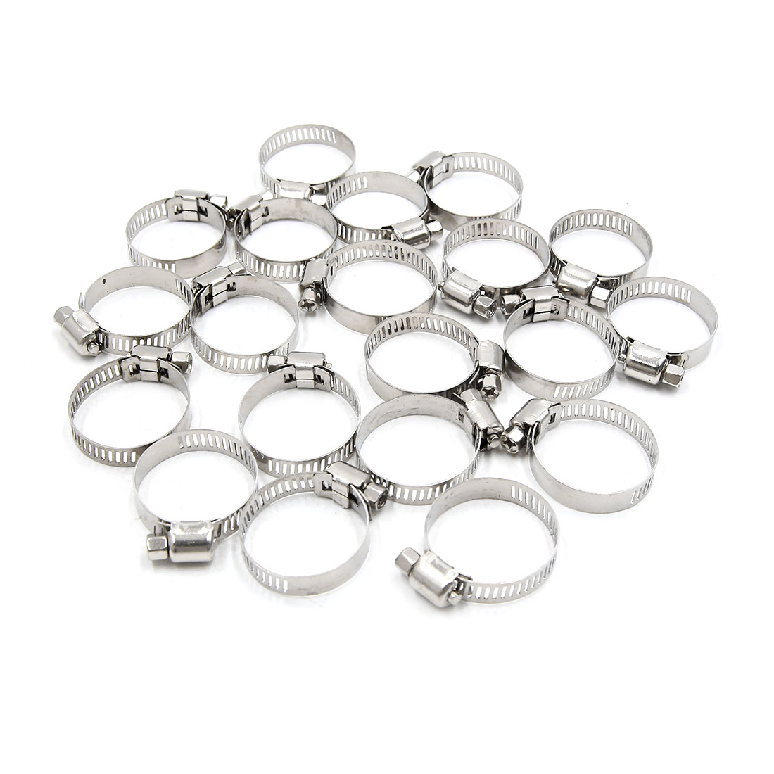 20Pcs Metal Adjustable 19-29mm Drive Hose Clamp Fuel Line  Pipe Tube Tight Clip