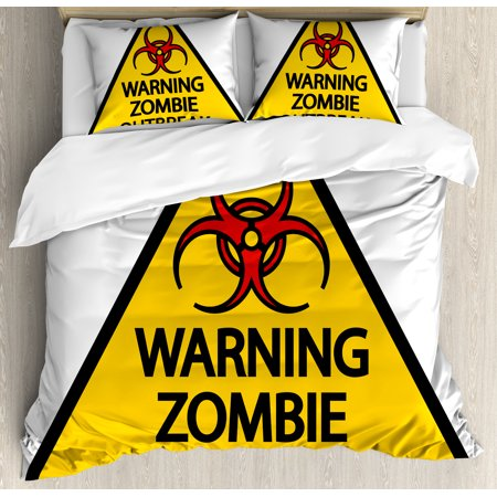 Zombie Decor Queen Size Duvet Cover Set, Warning Zombie Outbreak Sign Cemetery Infection Halloween Graphic, Decorative 3 Piece Bedding Set with 2 Pillow Shams, Earth Yellow Red Black, by Ambesonne for $<!---->